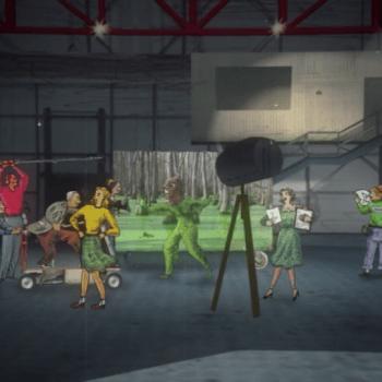 Bonecos representam equipe de cinema num set